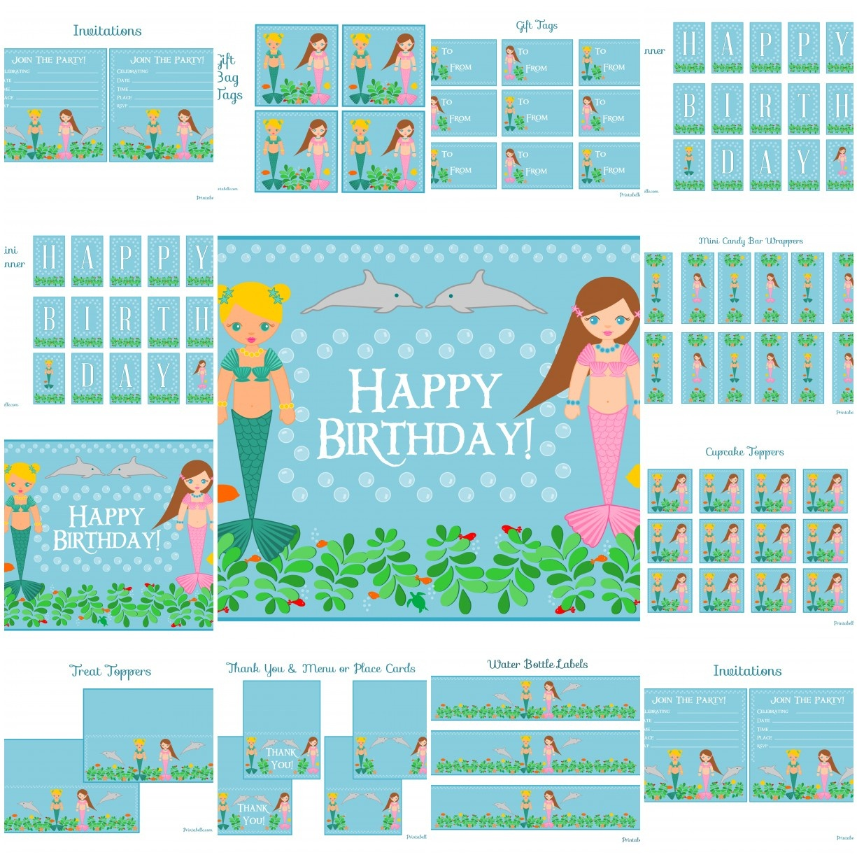 Free Mermaid Birthday Party Printables From Printabelle | Catch My Party - Free Mermaid Party Printables