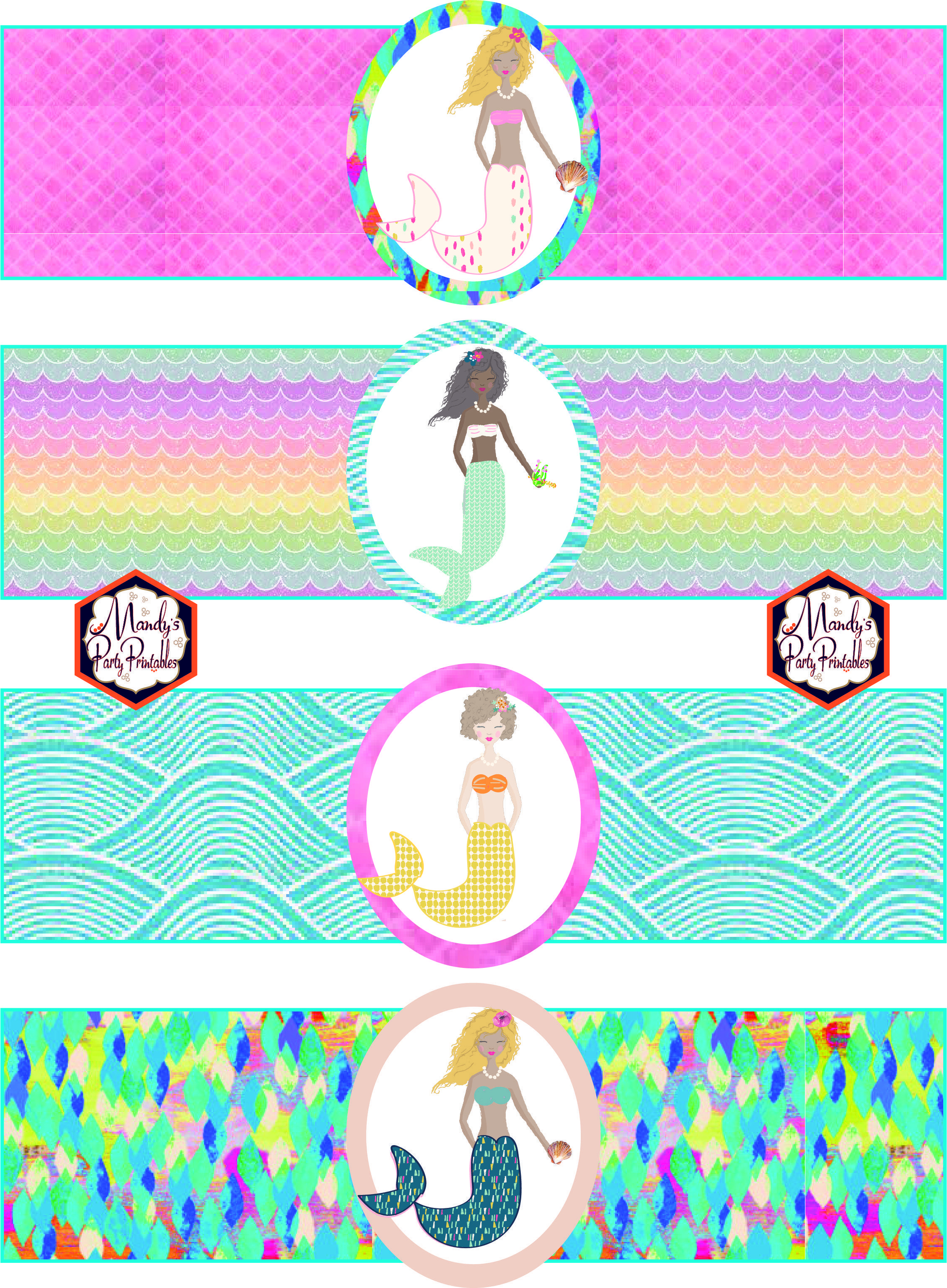 Free Mermaid Birthday Party Printables | Party Printables | Mermaid - Free Printable Little Mermaid Water Bottle Labels