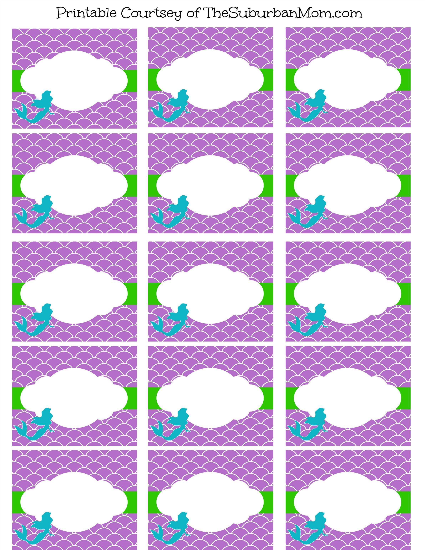 Free Mermaid Party Printables | Bella's | Mermaid Party Food - Free Printable Little Mermaid Water Bottle Labels