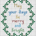 Free Merry And Bright Christmas Cross Stitch Pattern | Cross Stitch   Free Printable Christmas Ornament Cross Stitch Patterns