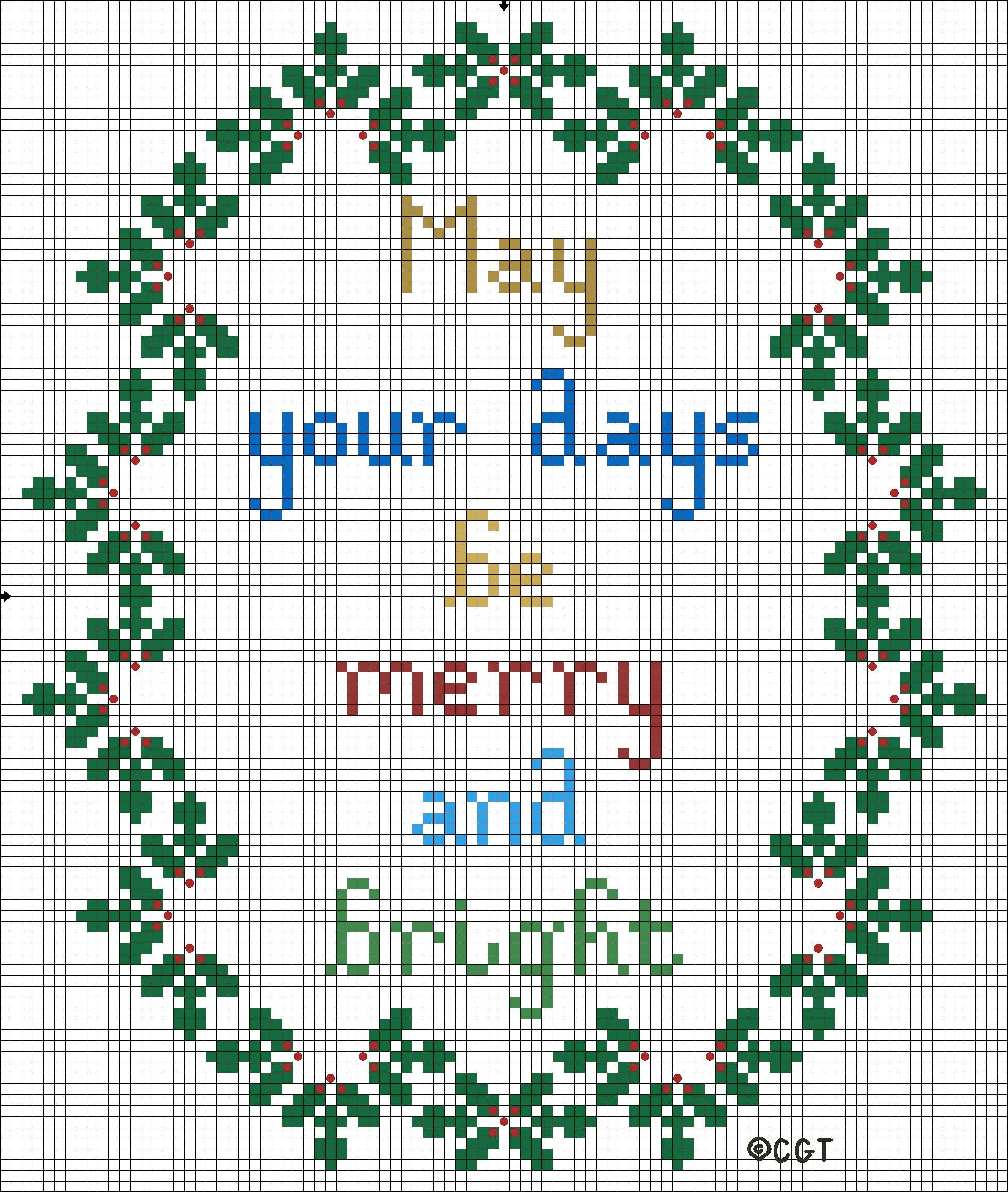 Free Merry And Bright Christmas Cross Stitch Pattern | Cross Stitch - Needlepoint Patterns Free Printable