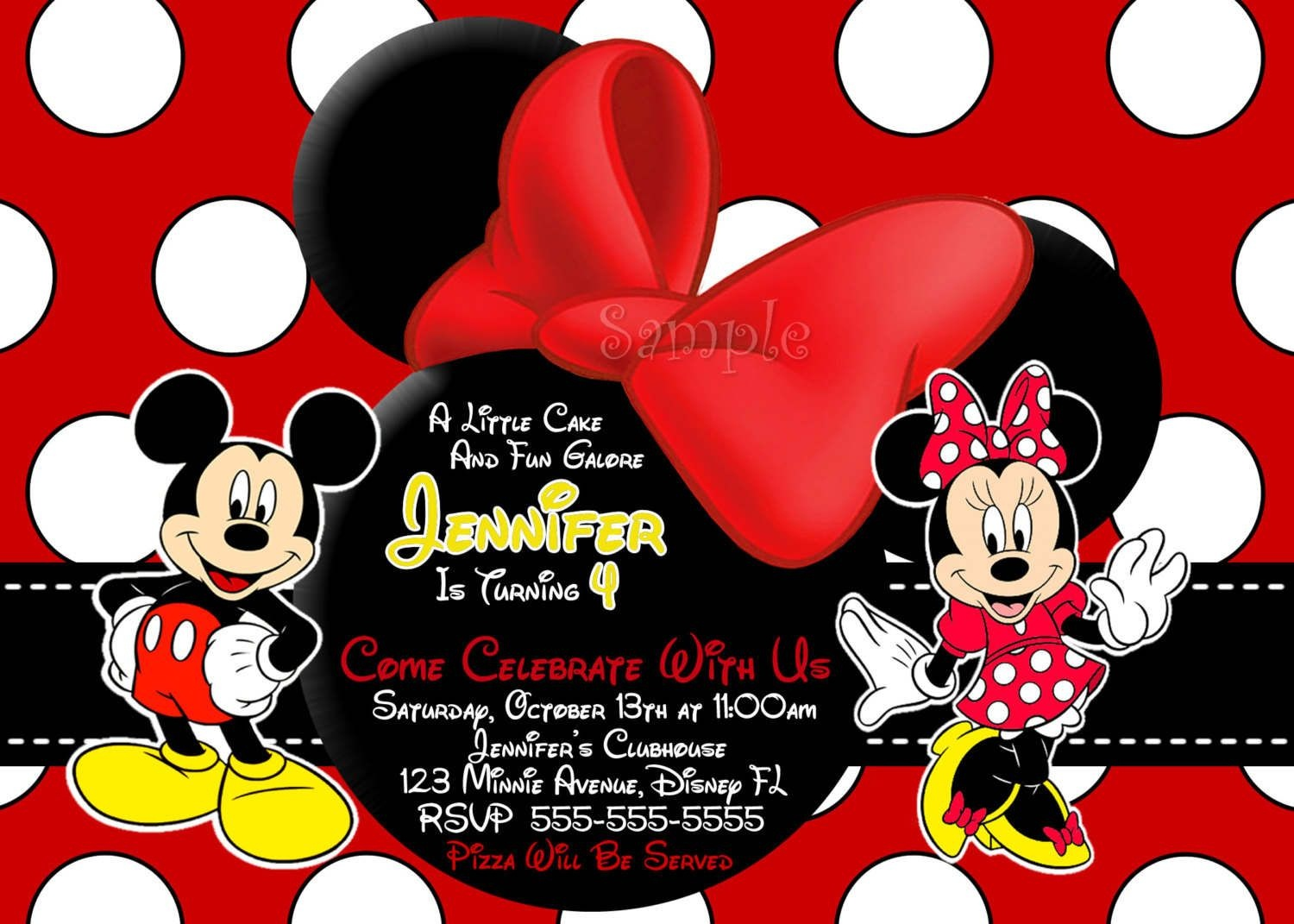 Free Mickey And Minnie Mouse Printable Invitations | Mickey E Minie - Free Printable Mickey And Minnie Mouse Invitations