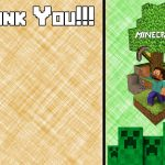 Free Minecraft Inspired Birthday Thank You Card Printable | Party   Free Printable Minecraft Thank You Notes