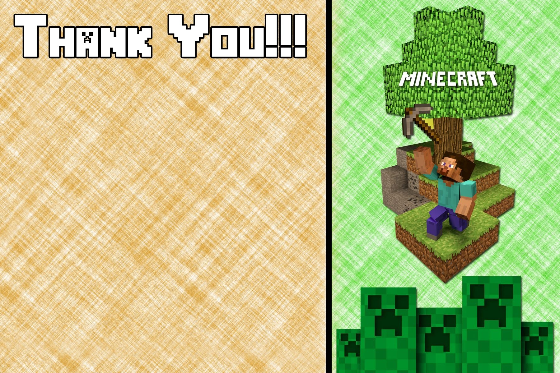 Free Minecraft Inspired Birthday Thank You Card Printable | Party - Free Printable Minecraft Thank You Notes