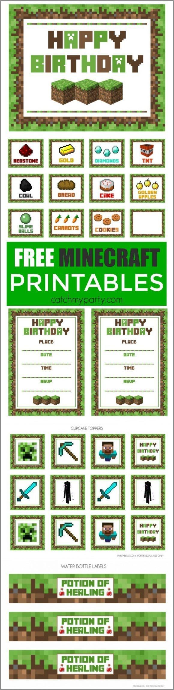 Free Minecraft Printables | Minecraft Party Ideas | Minecraft Party - Free Minecraft Party Printables