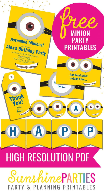 Free Minion Party Printables - Enjoy The Invitation, Birthday Banner - Free Minion Printables