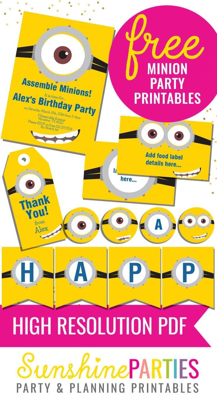 Free Minion Party Printables - Enjoy The Invitation, Birthday Banner - Minion Party Ideas Free Printables