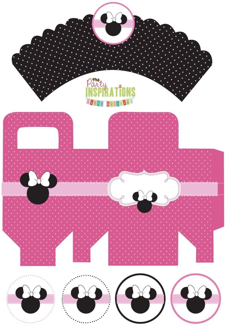 Free Minnie Mouse Party Printables - Cupcake Wrappers, Favor Boxes - Free Minnie Mouse Printables