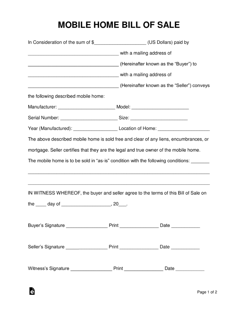 Free Mobile (Manufactured) Home Bill Of Sale Form - Word   Pdf - Free Printable Bill Of Sale For Mobile Home