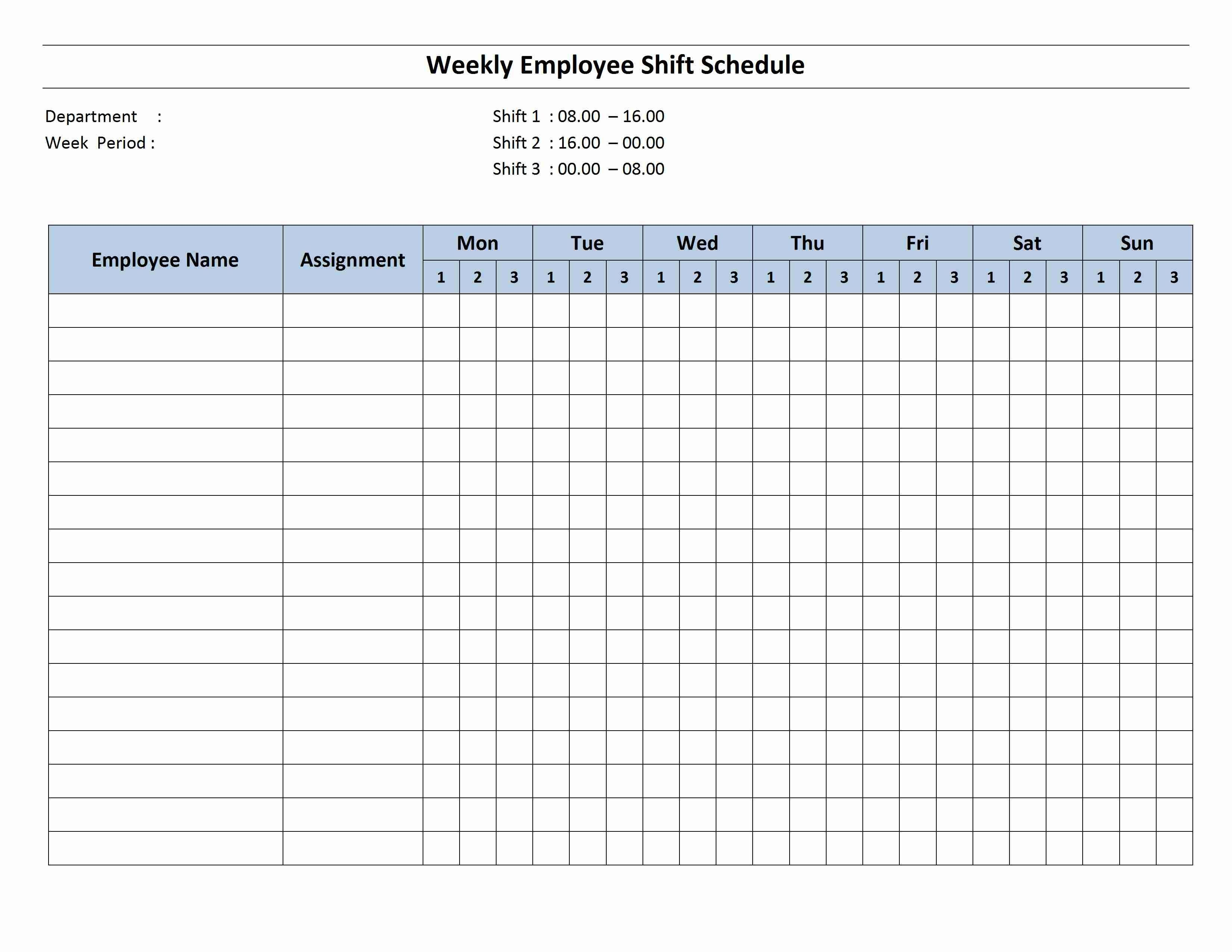 Free Monthly Work Schedule Template | Weekly Employee 8 Hour Shift - Free Printable Monthly Work Schedule Template
