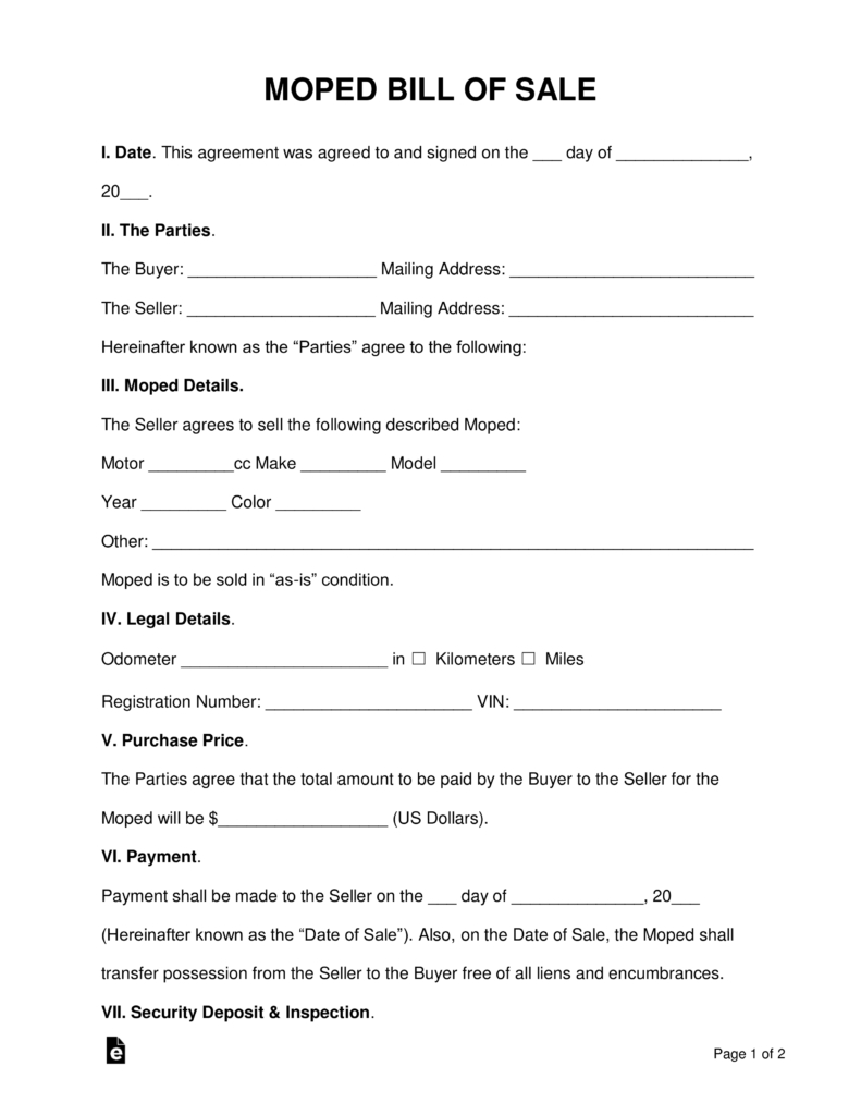 Free Moped (Scooter) Bill Of Sale Form - Pdf | Word | Eforms – Free - Free Printable Bill Of Sell