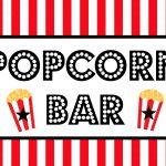 Free Movie Night / Popcorn Bar Printables   Popcorn Bar Free Printables