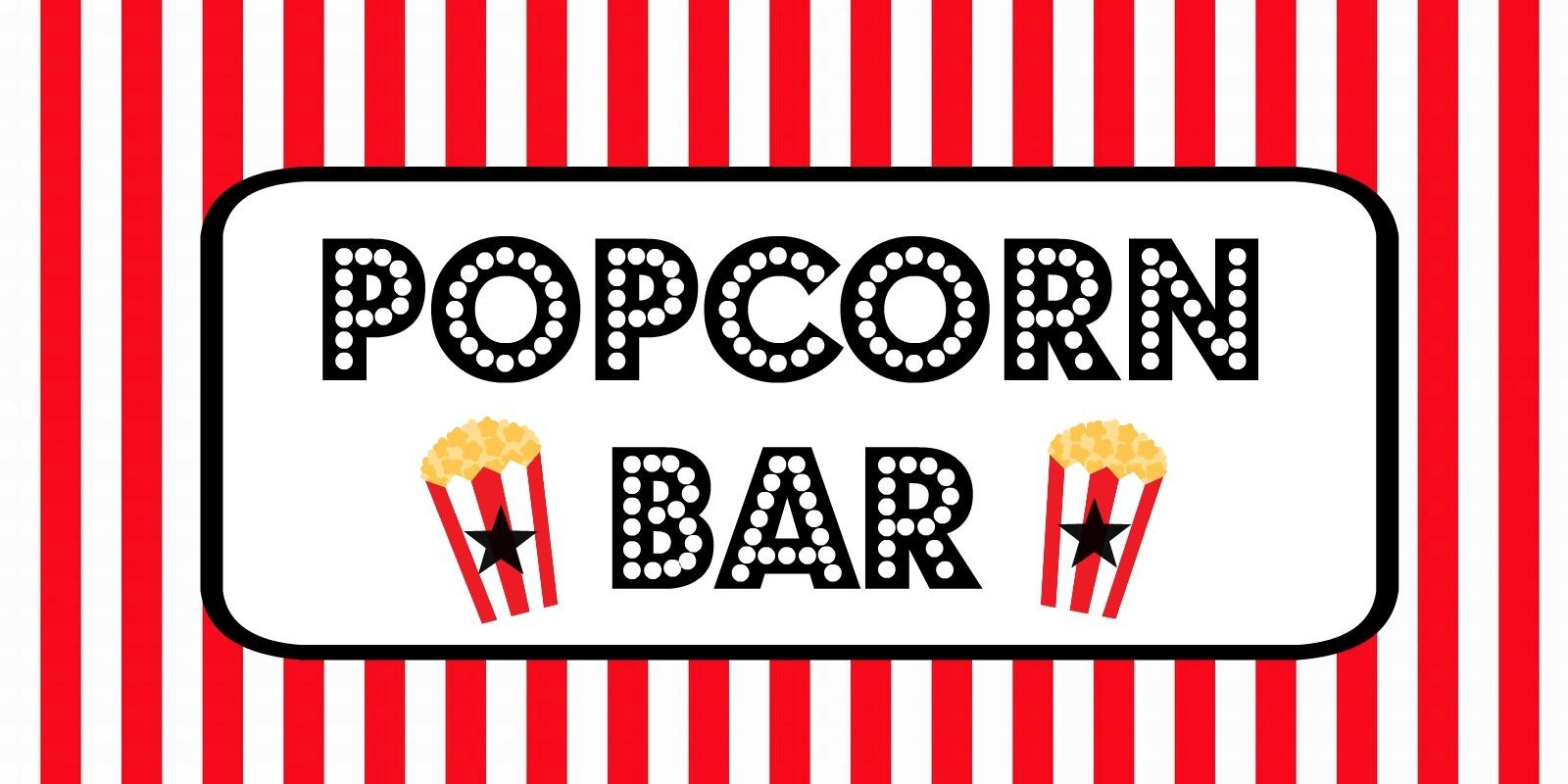 Free Movie Night / Popcorn Bar Printables - Popcorn Bar Free Printables