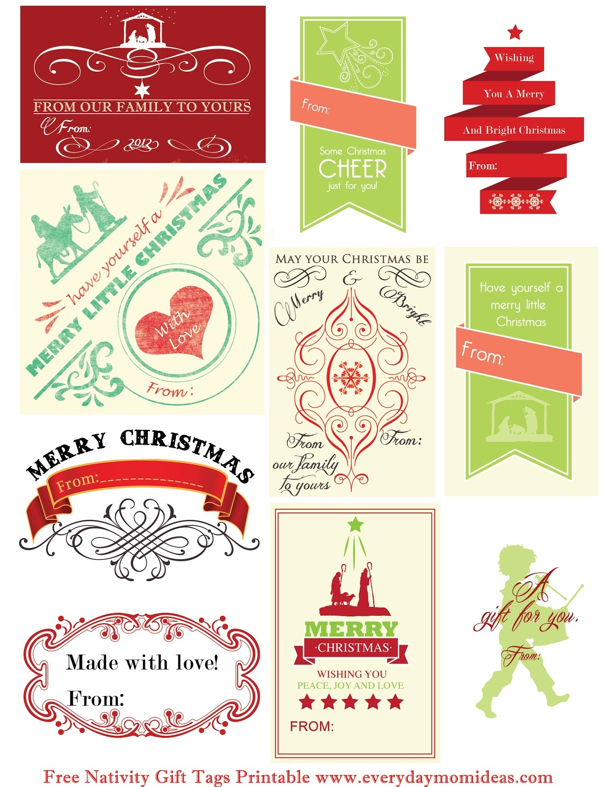 Free Nativity Gift Tags Printable - Everyday Mom Ideas - Free Printable Christian Christmas Gift Tags