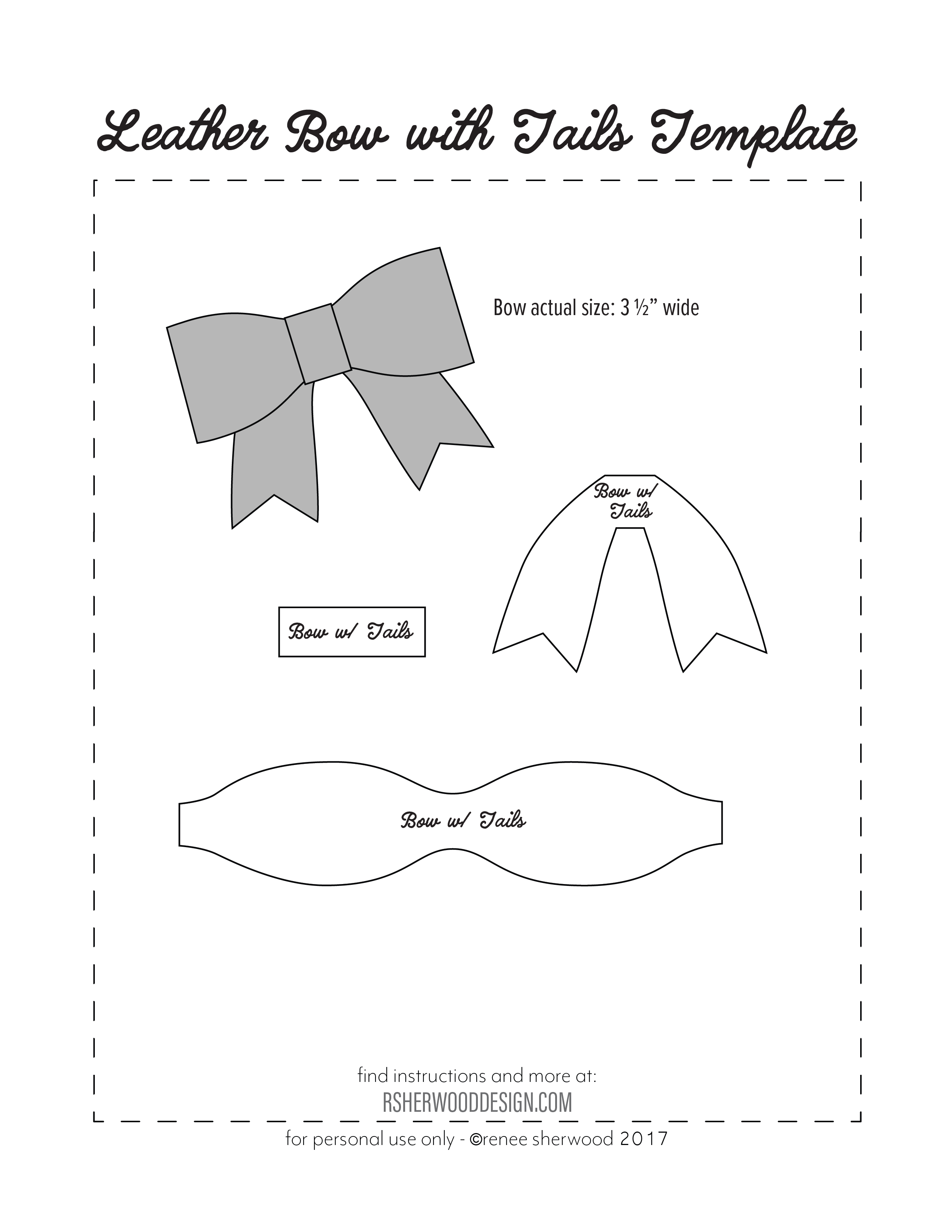 Free No Sew Leather Or Felt Bow Template Download At Www - Free Printable Hair Bow Templates