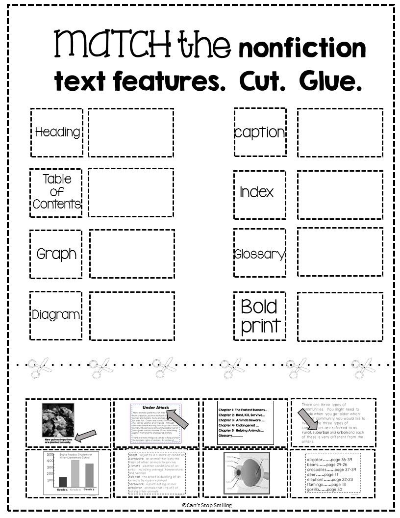 Free Nonfiction Text Features Matching Activity   Tpt Free Lessons - Free Printable Library Skills Worksheets