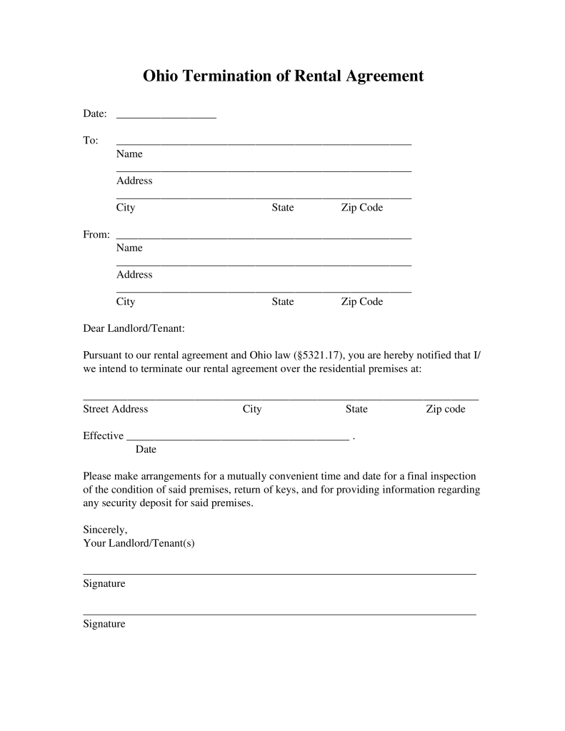 Free Ohio Lease Termination Letter Form | 30-Day Notice - Pdf - Free Printable Eviction Notice Ohio