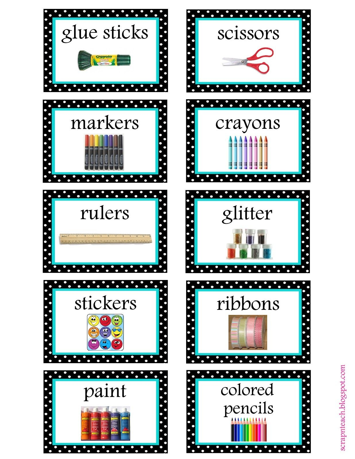 Free Organization Label Printables. We Won't Be Needing That Glitter - Free Printable Classroom Labels With Pictures