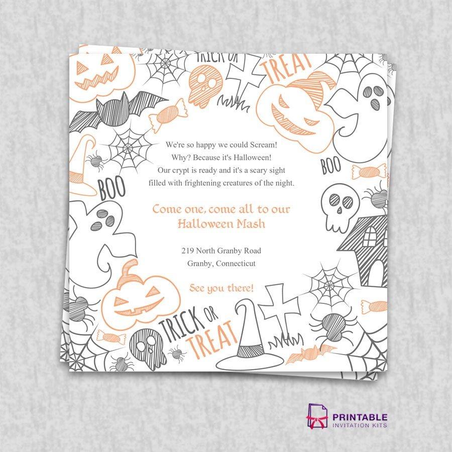 Free Pdf Download. Halloween Party Invitation Template | Wedding - Free Printable Halloween Wedding Invitations