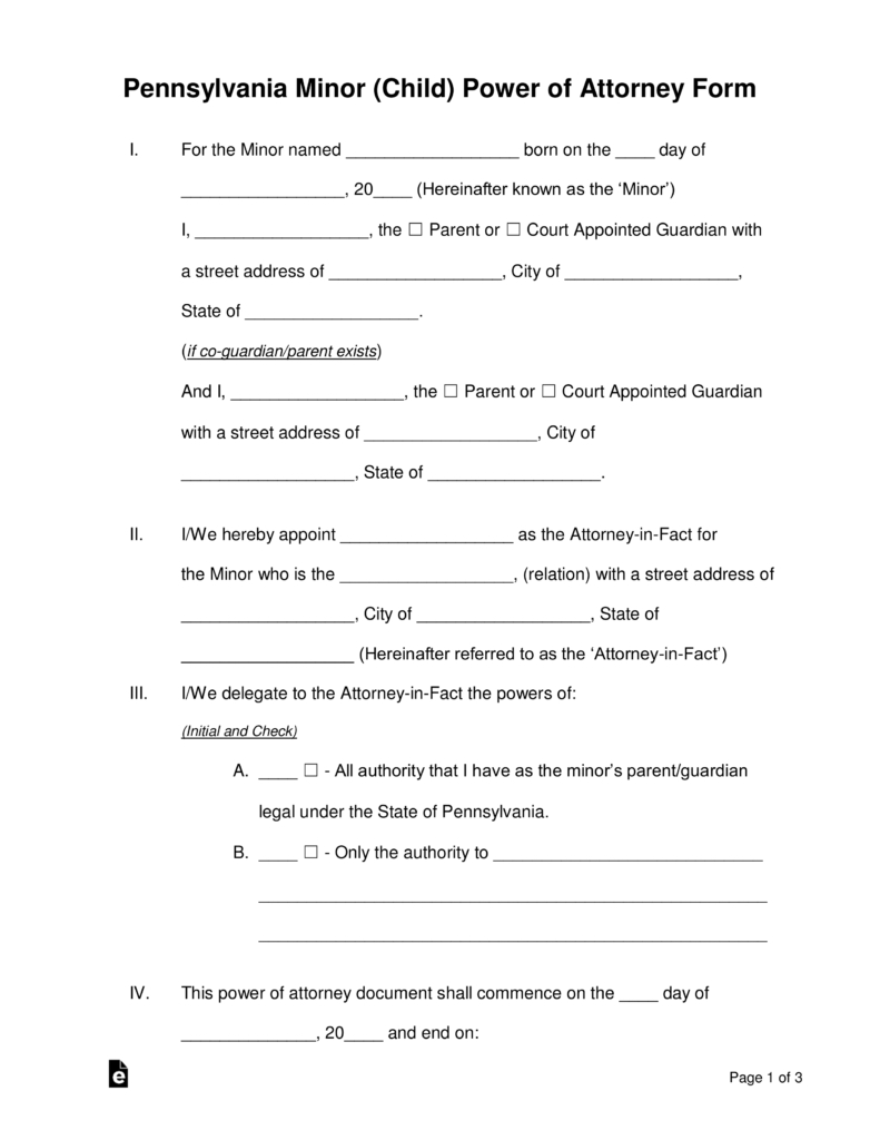 Free Pennsylvania Guardian Of Minor Power Of Attorney Form - Word - Free Printable Child Custody Forms