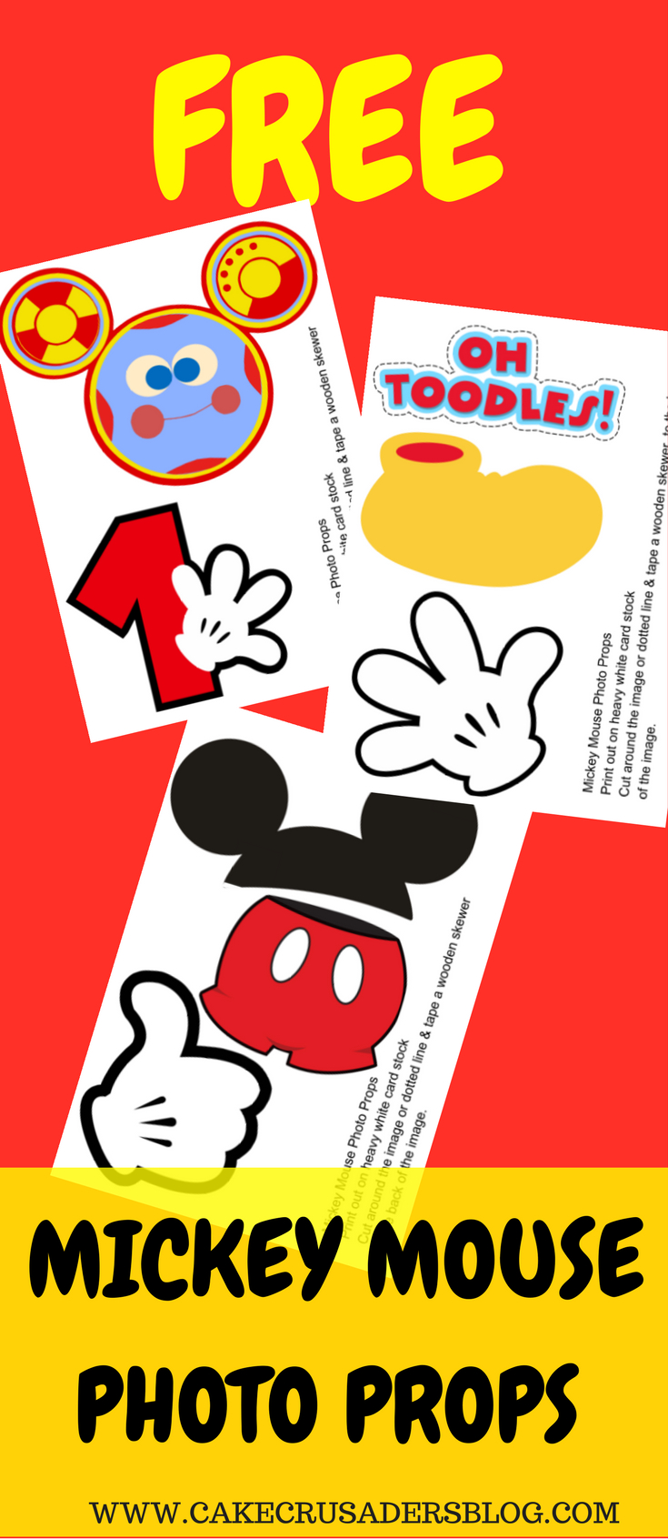 Free Photo Props Mickey Mouse Printable & Templates | Photo Booth - Mickey Mouse Clubhouse Free Printables