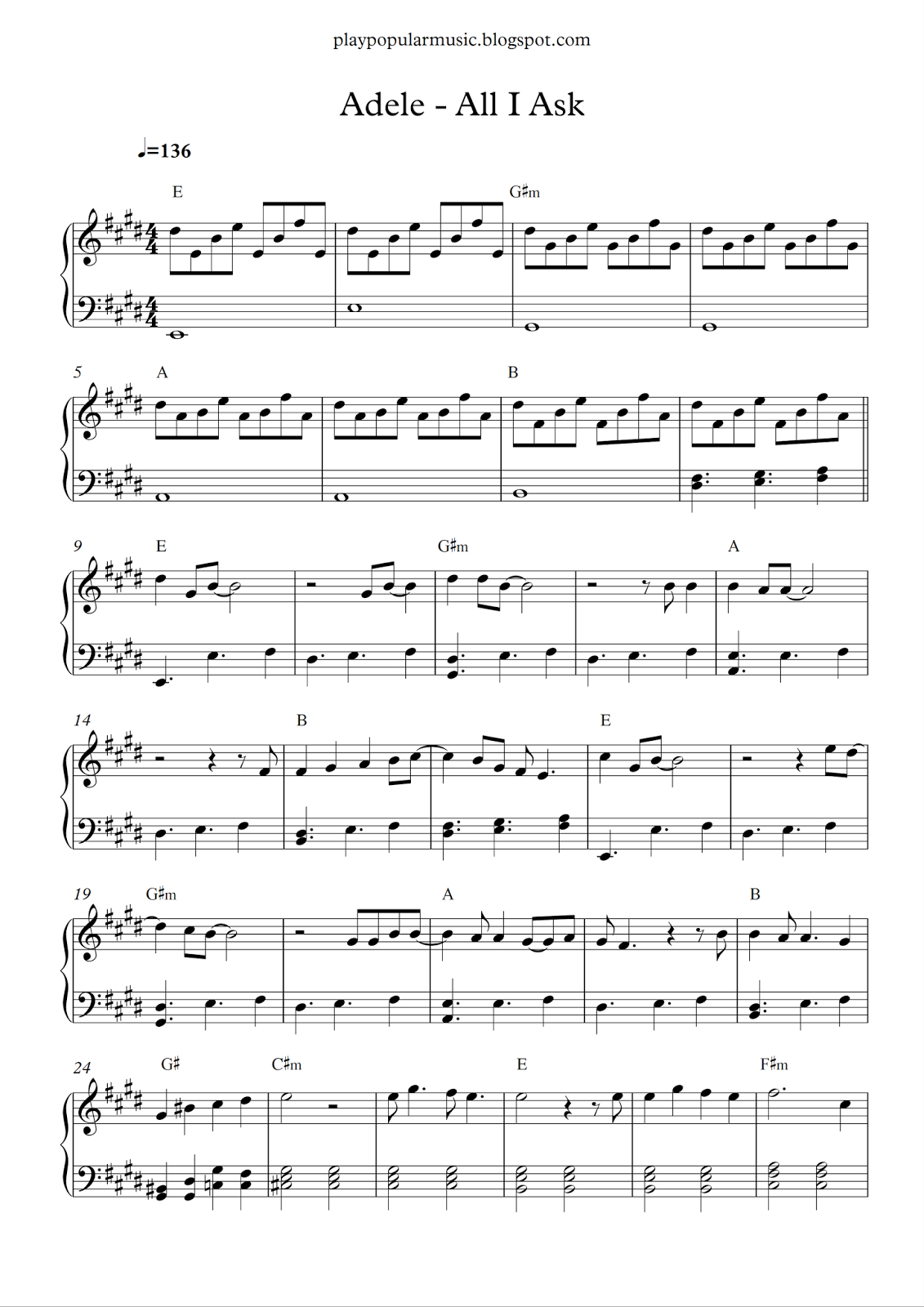 Free Piano Sheet Music: Adele - All I Ask.pdf I Don't Need Your - All Of Me Easy Piano Sheet Music Free Printable