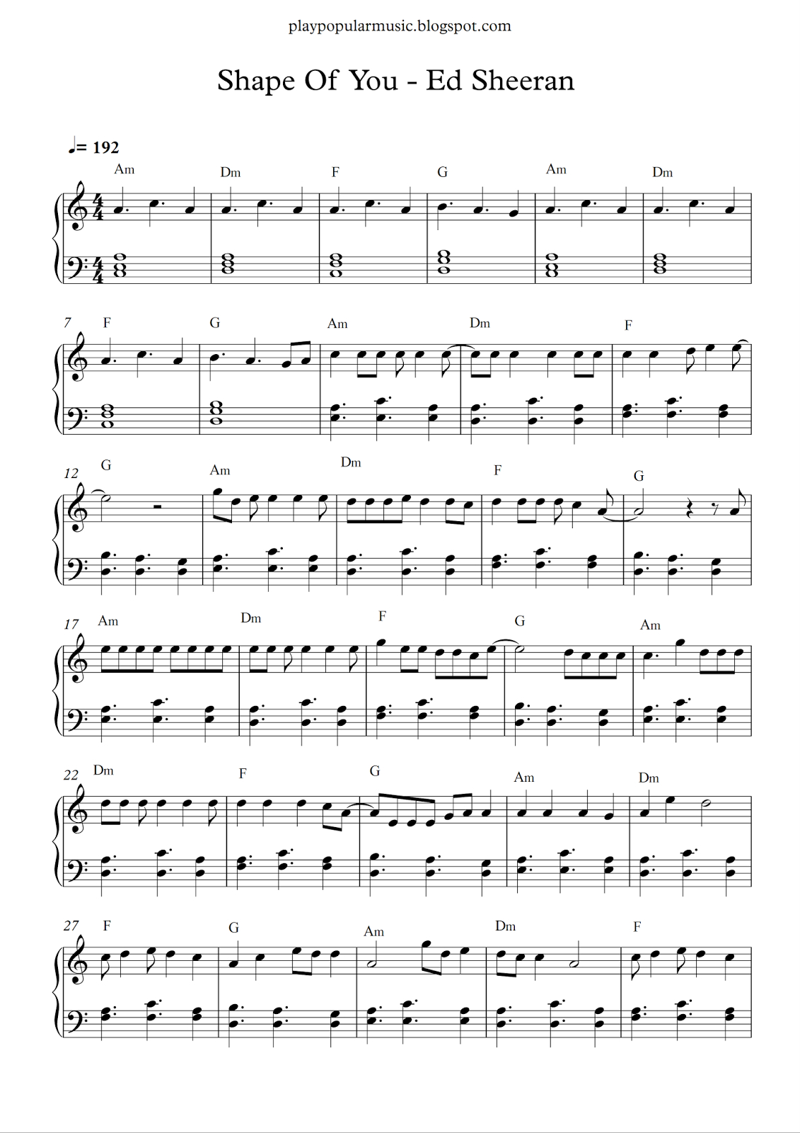 Free Piano Sheet Music: Shape Of You-Ed Sheeran.pdf Your Love Was - All Of Me Easy Piano Sheet Music Free Printable