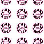Free Pink Zebra Birthday Party Food Cards Printables & Cupcake   Free Printable Barbie Cupcake Toppers