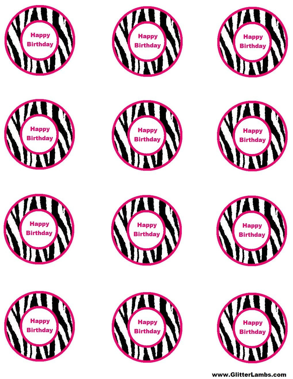 Free Pink Zebra Birthday Party Food Cards Printables & Cupcake - Free Printable Barbie Cupcake Toppers