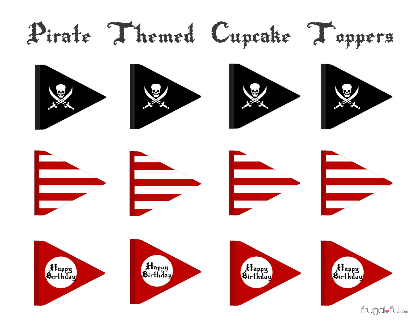 Free Pirate Cupcake Printable Toppers ~ Frugalful | Diy Pirates - Free Printable Pirate Cupcake Toppers