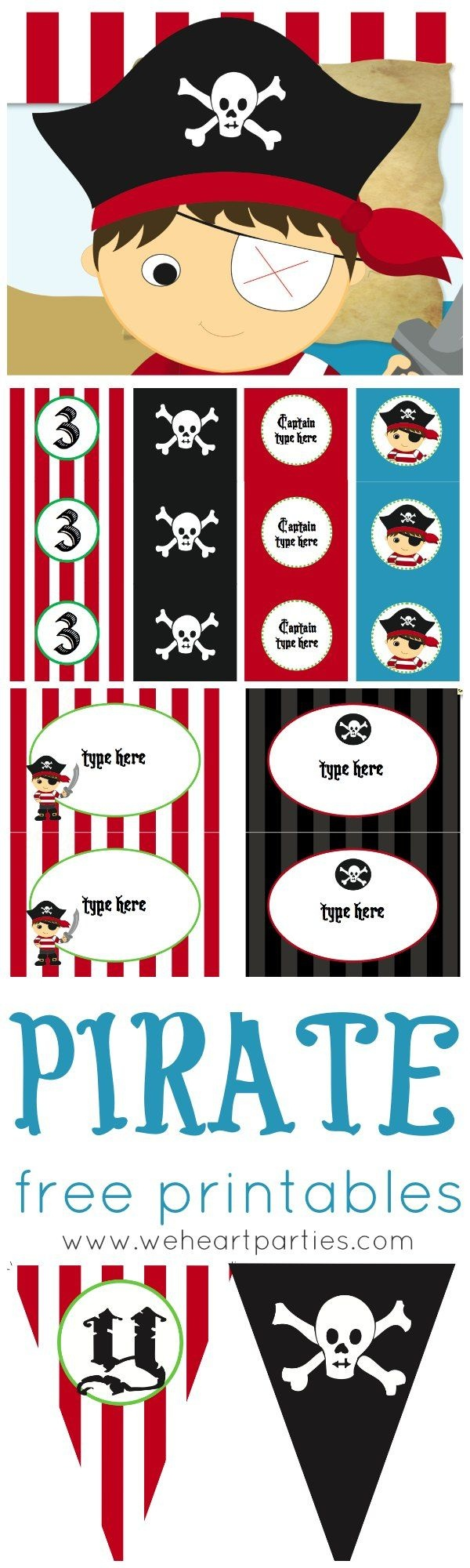 Free Pirate Party Printables (Editable With Child's Name And Age Too - Free Printable Pirate Cupcake Toppers