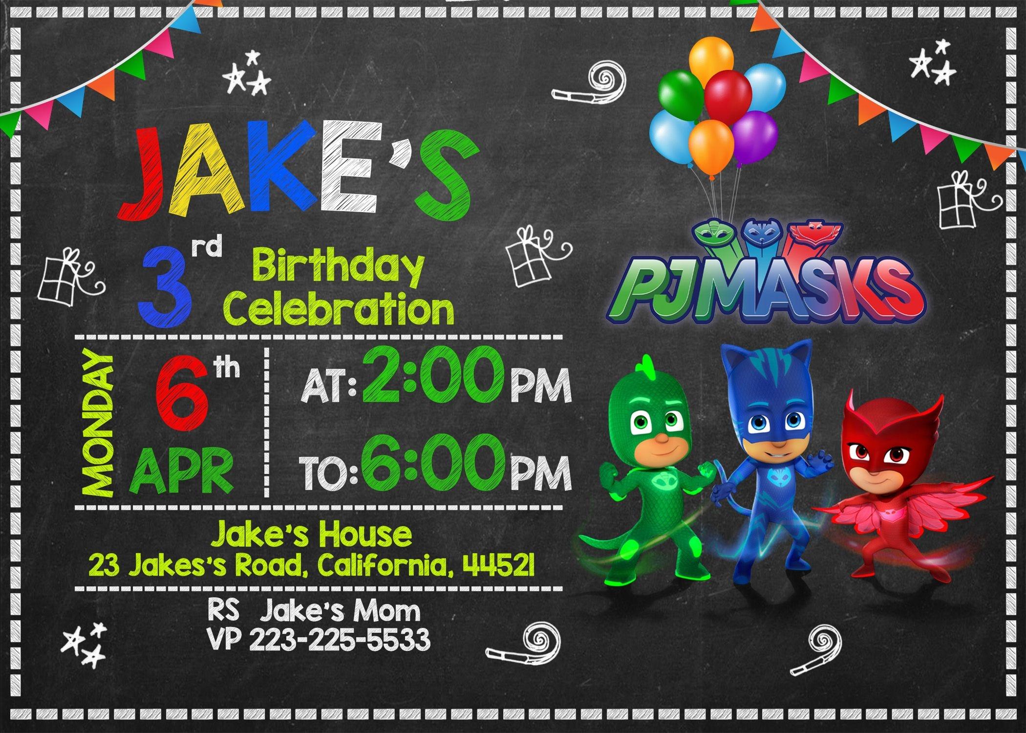Free Pj Masks Invitation Printable Templates Download | Party In - Free Printable Pj Masks Invitations