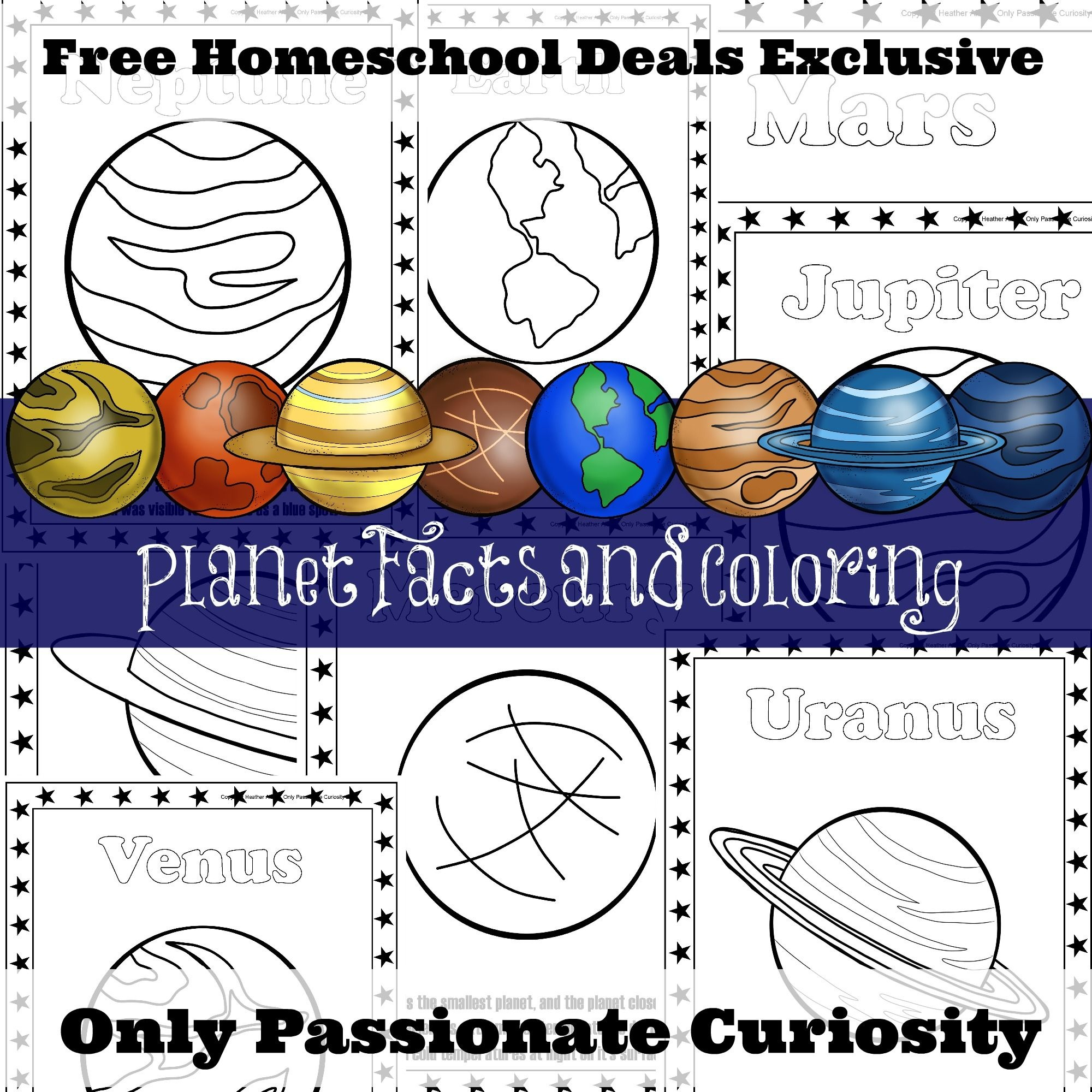 Free Planet Facts And Coloring Pages (Instant Download)   Ultimate - Free Printable Pictures Of Planets