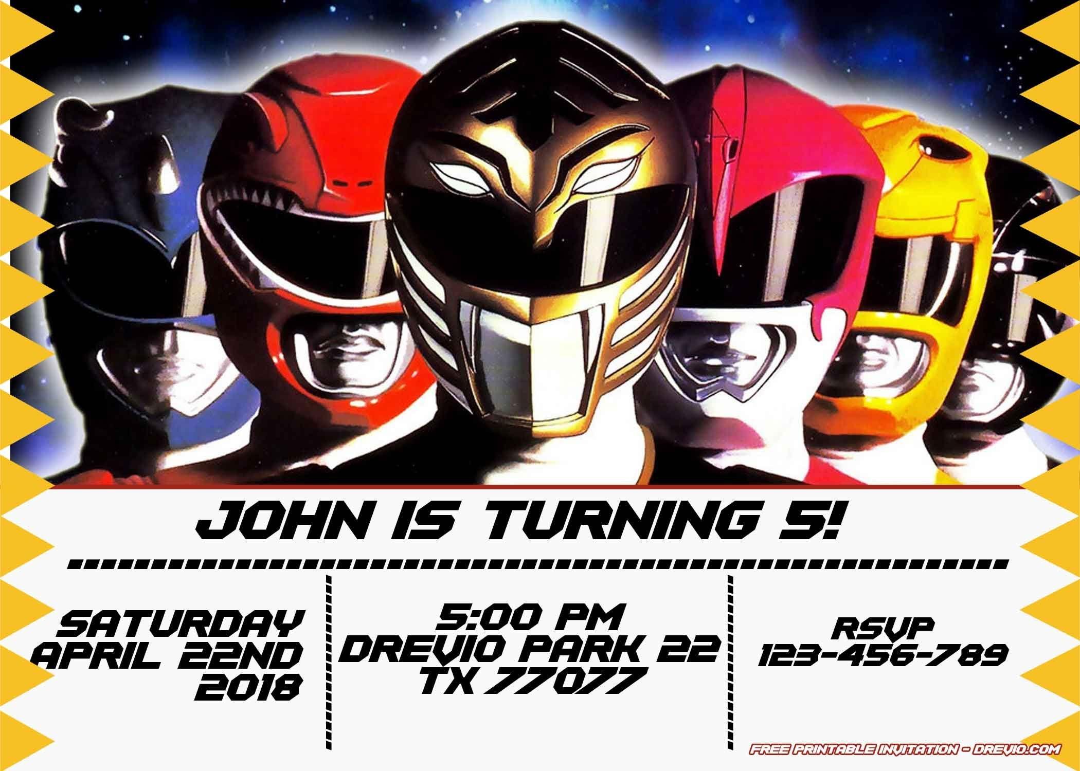 Free Power Rangers Birthday Invitation | Life's A Party | Power - Free Power Ranger Printables