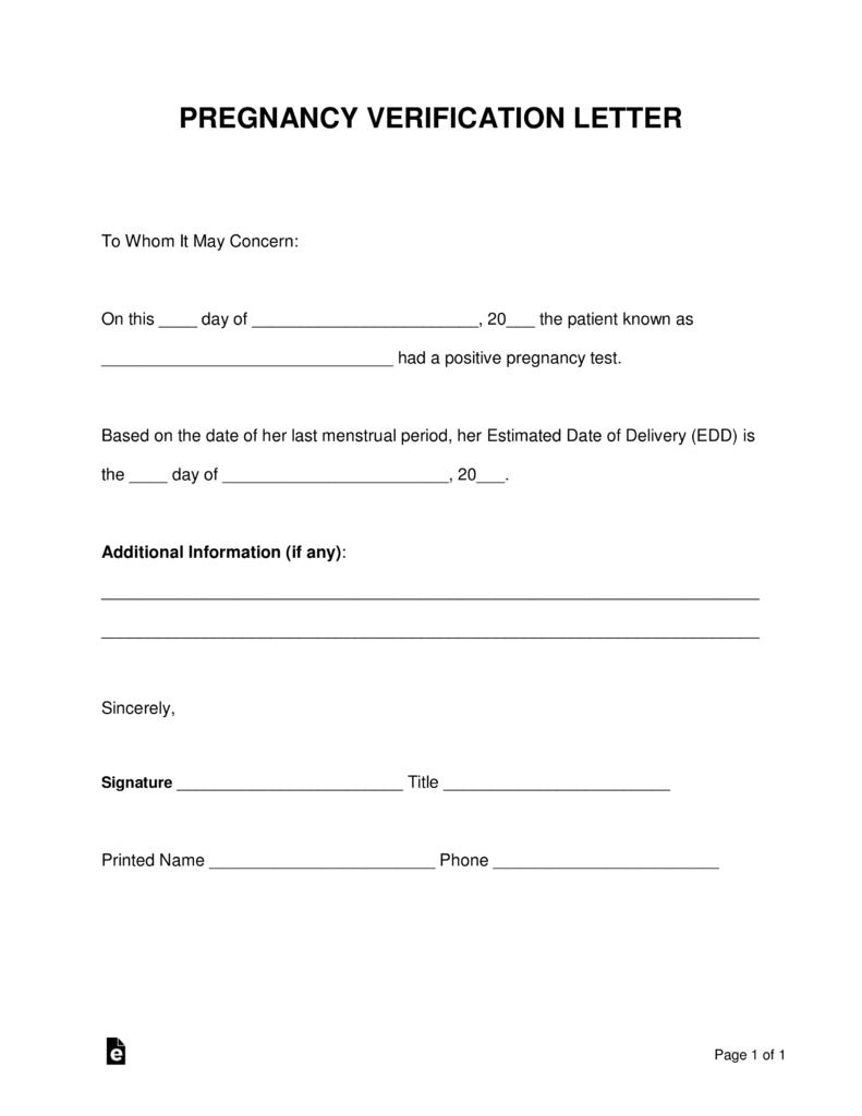 Free Pregnancy Verification Form - Pdf   Word   Eforms – Free - Free Printable Fake Pregnancy Papers