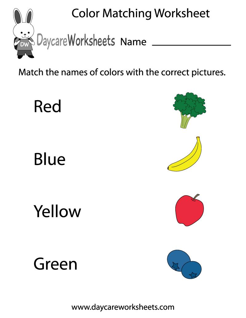 Free Preschool Color Matching Worksheet - Colors Worksheets For Preschoolers Free Printables