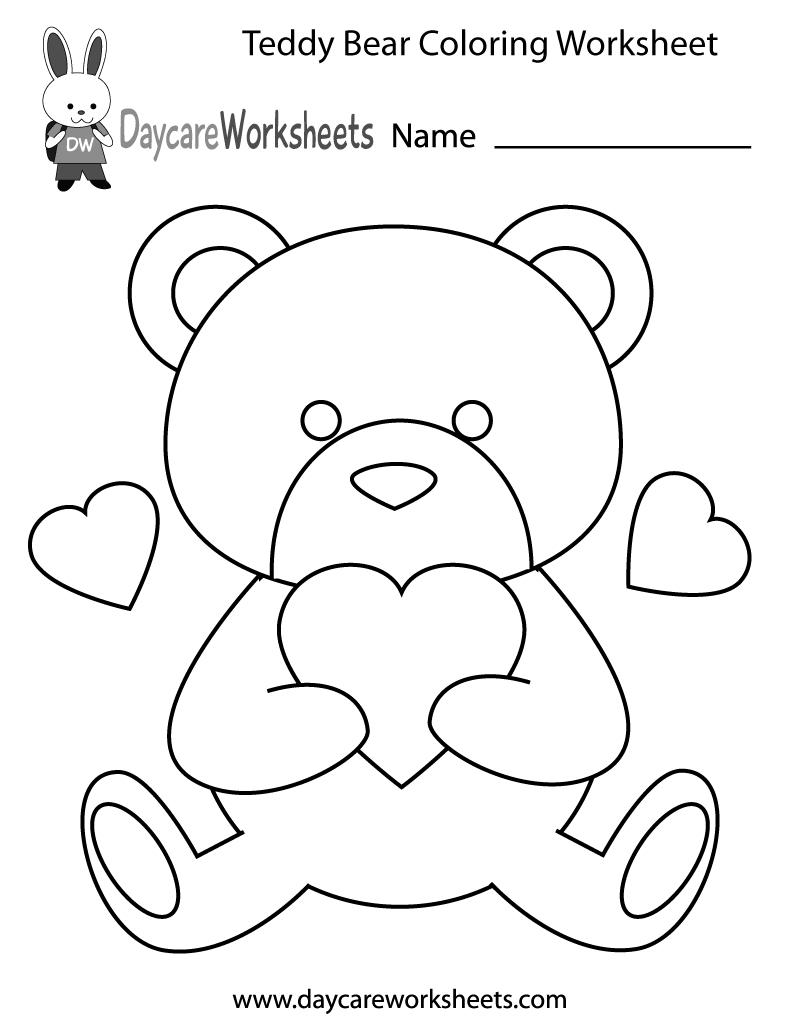 Free Preschool Teddy Bear Coloring Worksheet - Colors Worksheets For Preschoolers Free Printables