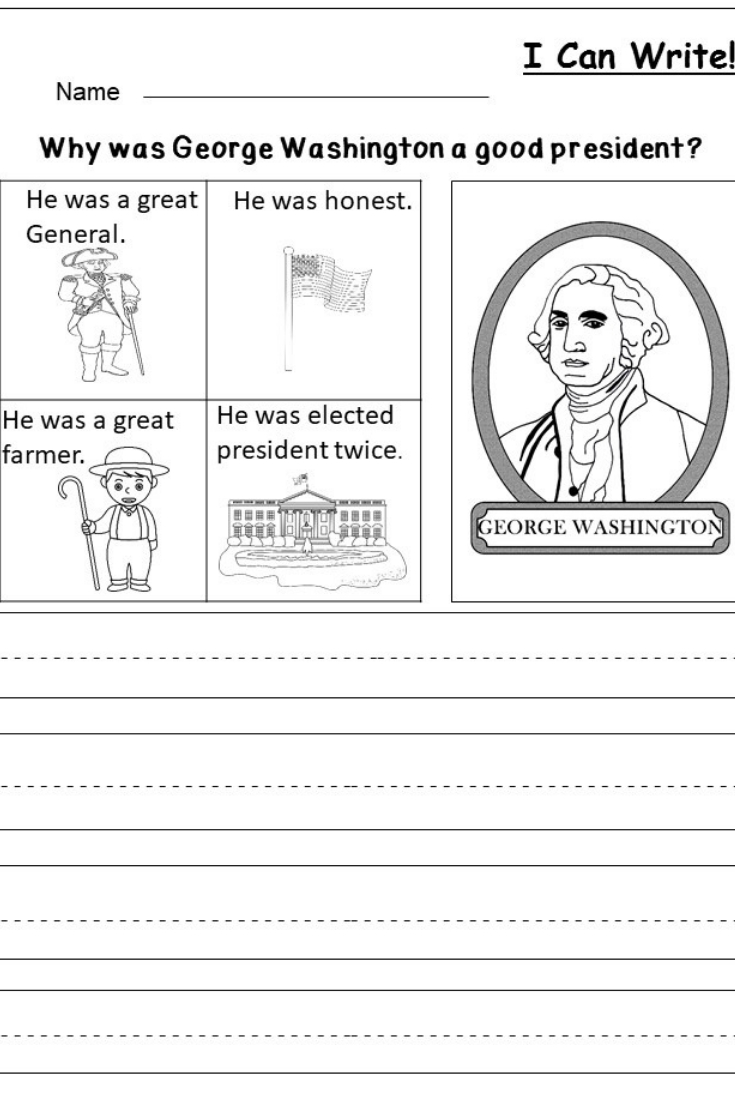 Free President's Day Writing Worksheet   Kindergarten Writing And - Free Printable George Washington Worksheets