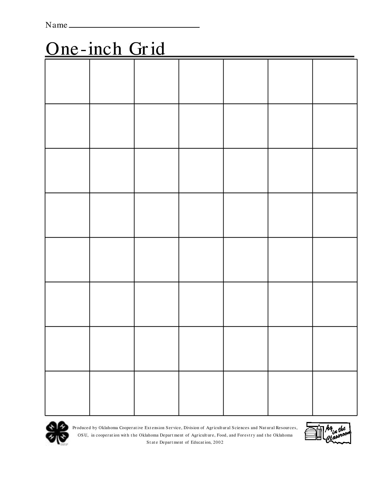 Free Printable 1 Inch Grid Paper | Math | Printable Graph Paper - One Inch Stencils Printable Free
