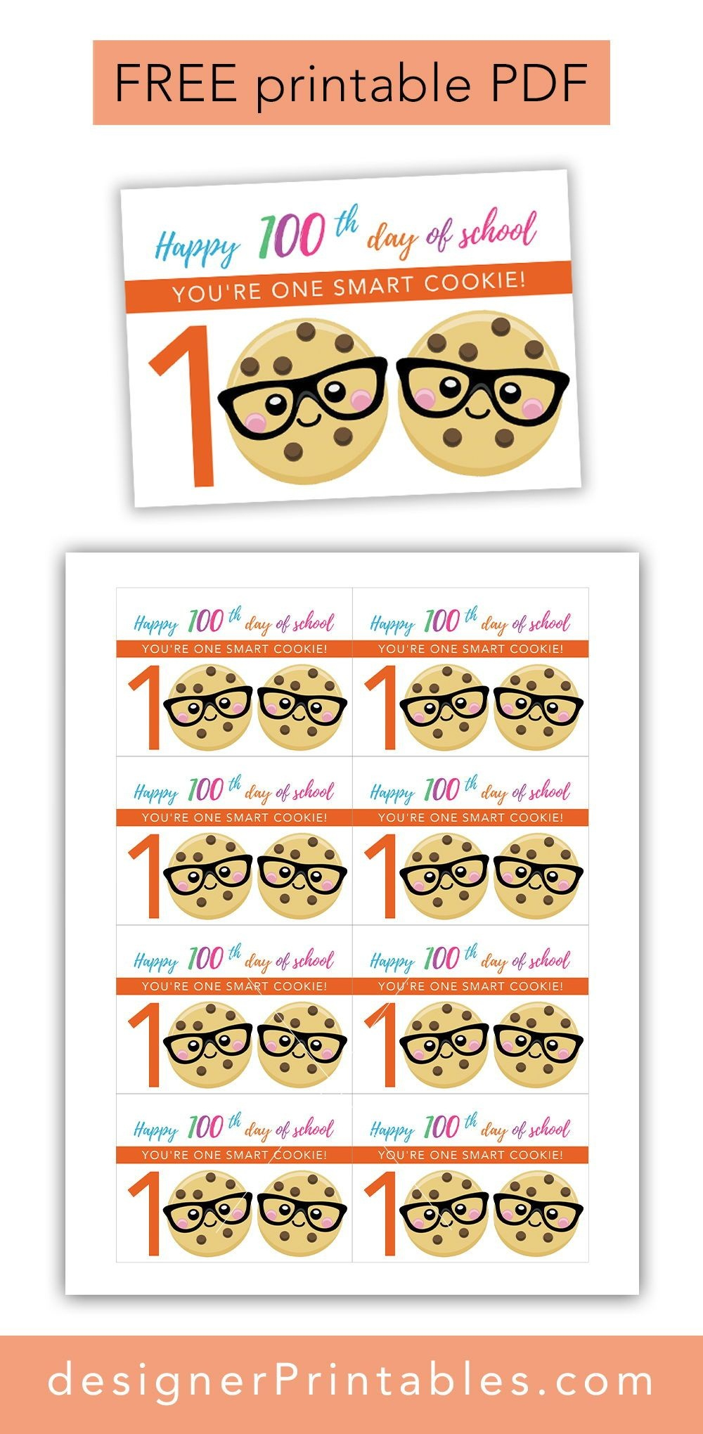 Free Printable: 100Th Day Of School - One Smart Cookie | Free - 100Th Day Of School Printable Glasses Free