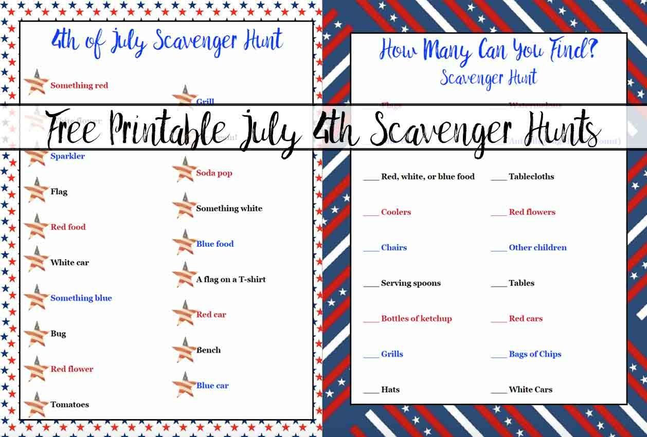 Free Printable 4Th Of July Scavenger Hunts: 2 Different Types - Free Printable 4Th Of July Pictures
