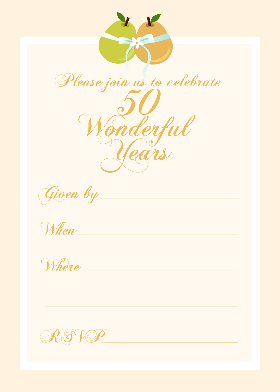 Free Printable 50 Year Anniversary Party Invitation   Free Printable - Free Printable 40Th Anniversary Invitations