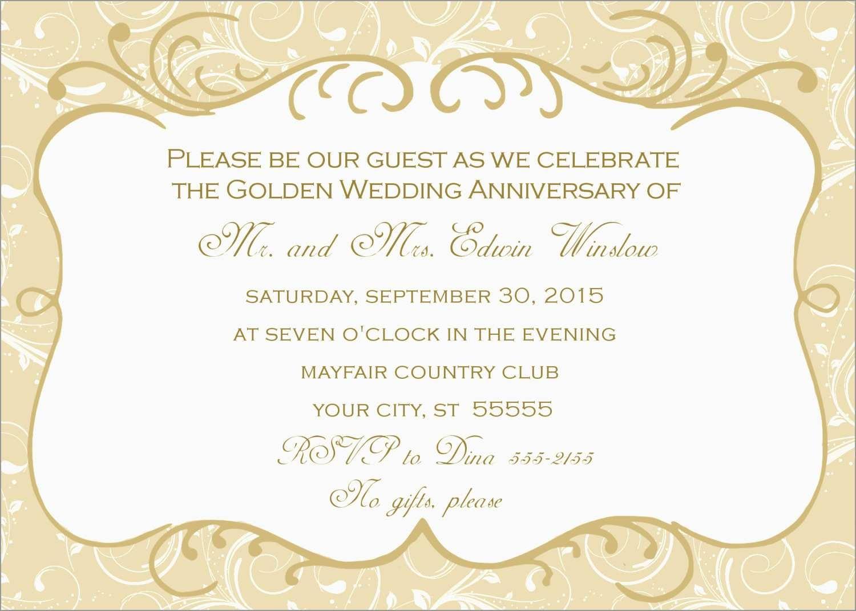 Free Printable 50Th Wedding Anniversary Invitation Templates Cute - Free Printable 50Th Wedding Anniversary Invitation Templates