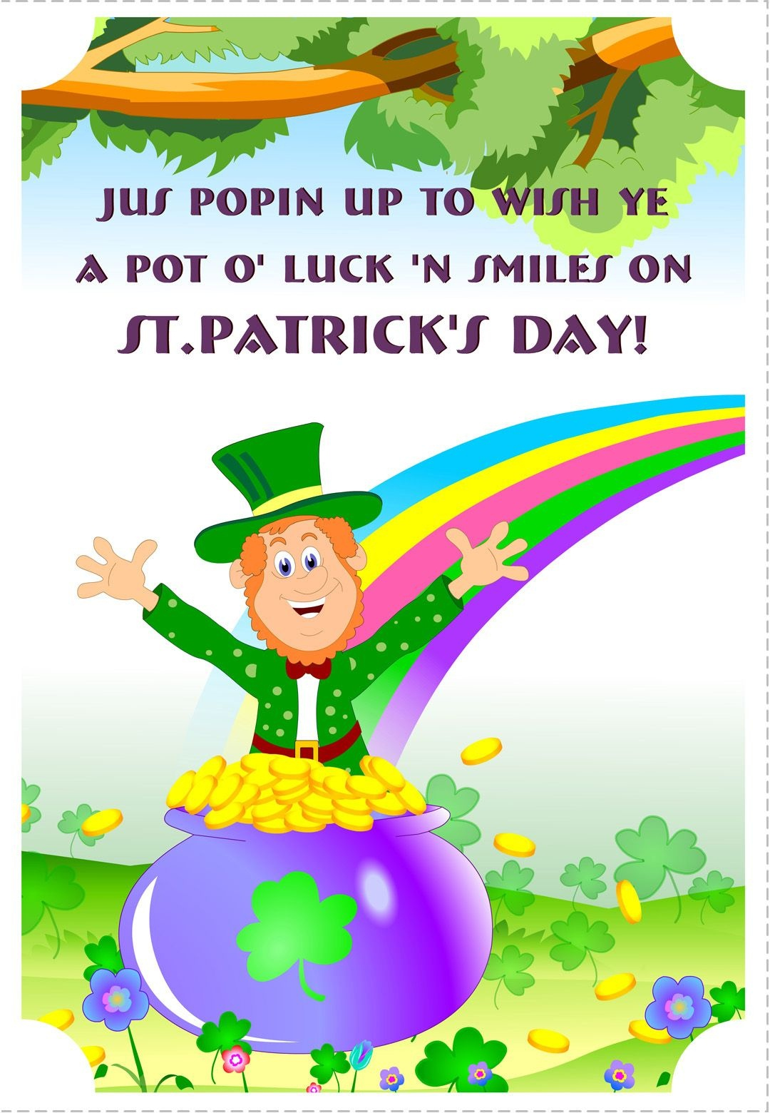 Free Printable A Pot Of Luck St Patrick's Greeting Card | Printable - Free Printable St Patrick's Day Greeting Cards