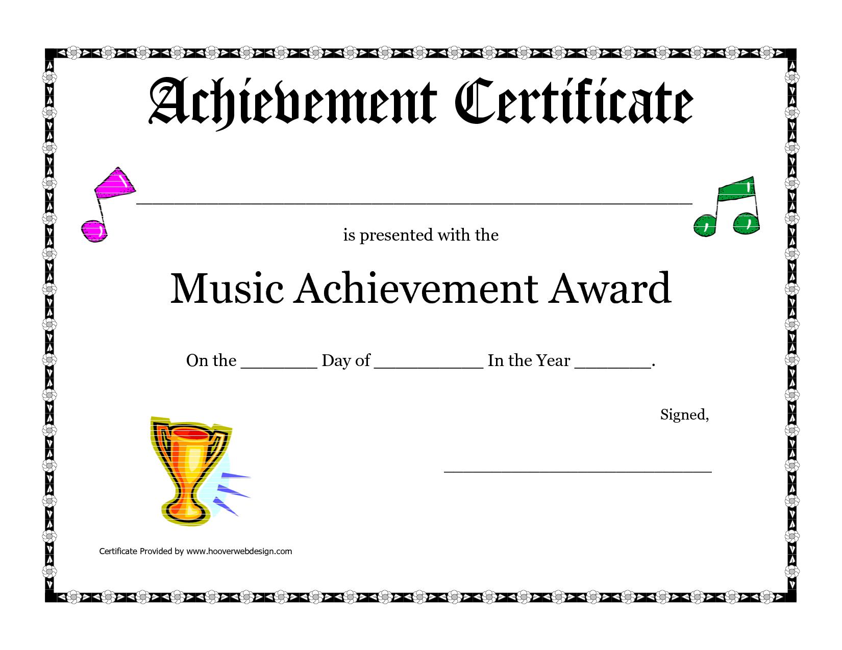 Free Printable Achievement Award Certificate Template | Recitals - Free Printable Piano Recital Certificates