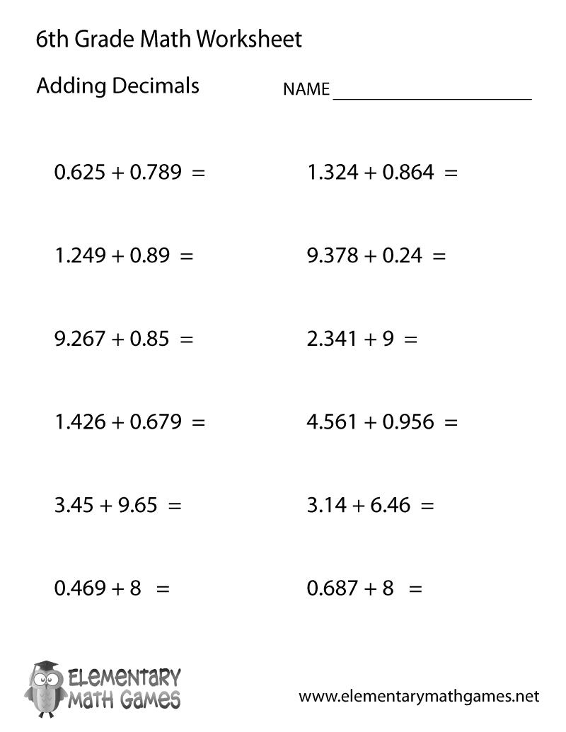 Free Printable Adding Decimals Worksheet For Sixth Grade - Free Printable 6Th Grade Worksheets
