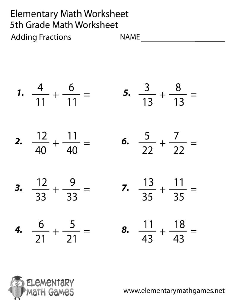 Free Printable Adding Fractions Worksheet For Fifth Grade - Free Printable 5Th Grade Math Worksheets