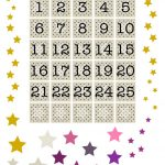 Free Printable Advent Calendar Numbers And Stars ^^ | Numery I   Free Printable Advent Numbers