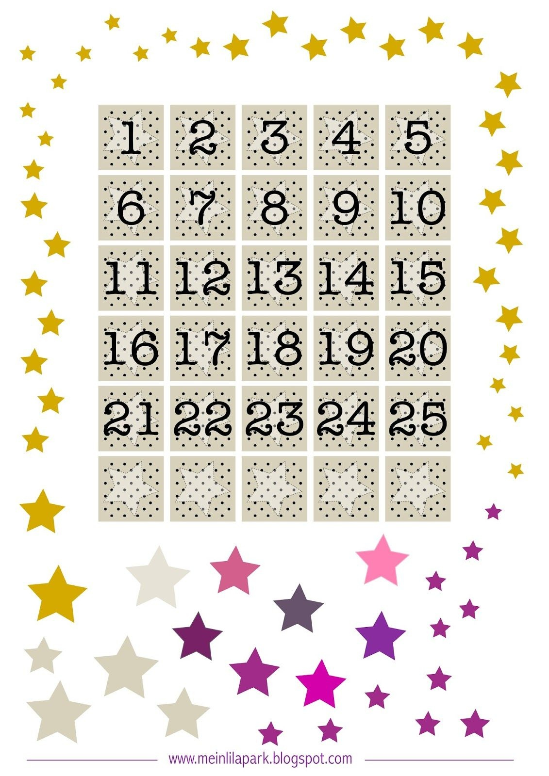 Free Printable Advent Calendar Numbers And Stars ^^ | Numery I - Free Printable Advent Numbers