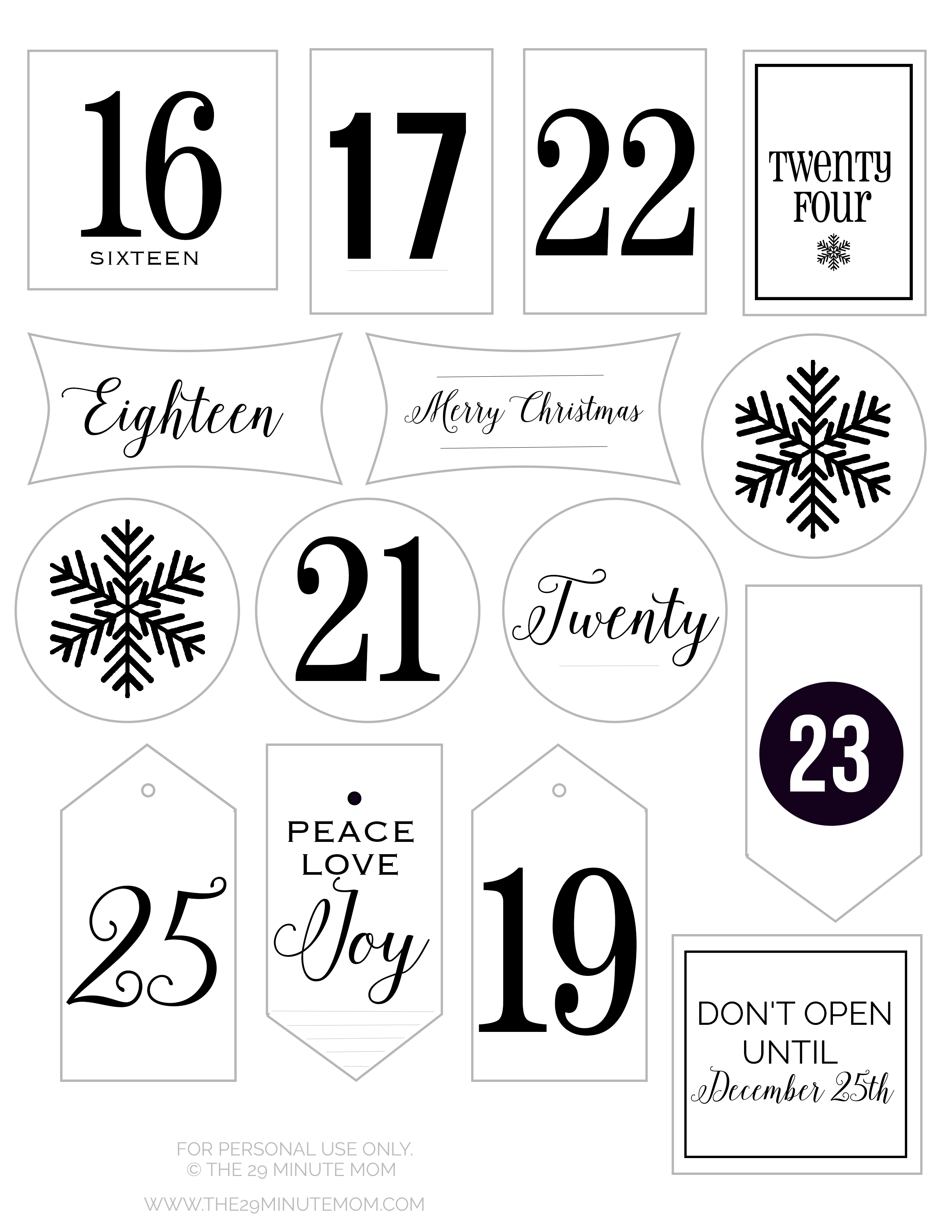 Free Printable Advent Calendar Tags - The 29 Minute Mom - Free Printable Advent Numbers